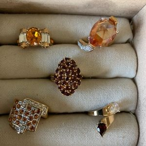 Vintage costume champagne amber rings